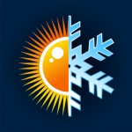 Winter and summer, hot and cold temperature icon over blue background. Vector file layered for easy manipulation and custom coloring.